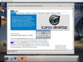 AROS OWB 0.9.2 Screenshot - OWB with os4 theme displaying icarosdesktop.org