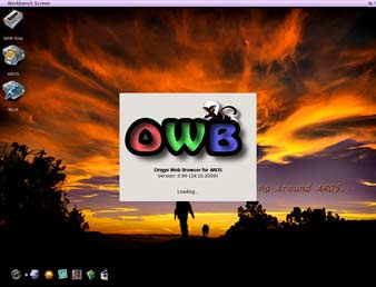 AROS OWB 0.9.9 Screenshot - OWB 0.9.9 running under Icaros VE showing new splash screen